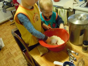 Br & Bl mixing the dry ingredients