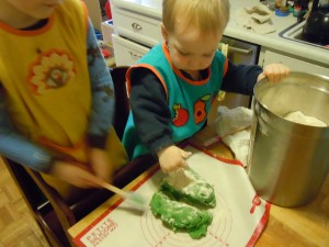 After it cooled, kneading the playdough with extra flour ( to develop the elasticity)